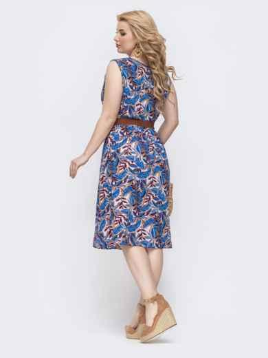 Приталенное платье батал с принтом и резинкой по талии синее 46398, фото 2