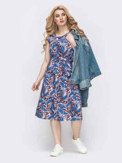 Приталенное платье батал с принтом и резинкой по талии синее 46398, фото 3
