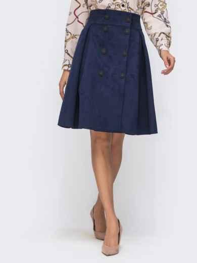 Расклешенная юбка из искусственной замши на пуговицах тёмно-синяя 41497, фото 2