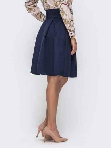 Расклешенная юбка из искусственной замши на пуговицах тёмно-синяя 41497, фото 3