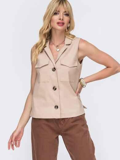 Льняная блузка бежевого цвета с накладными карманами 49109, фото 1