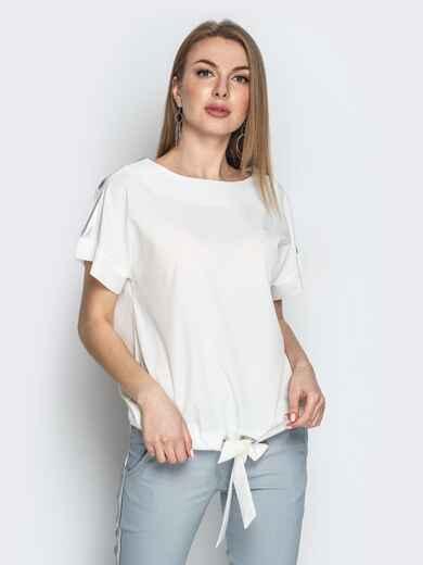 Молочная блузка с кулиской по низу и контрастными вставками 20771, фото 1
