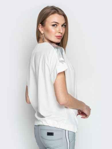 Молочная блузка с кулиской по низу и контрастными вставками 20771, фото 3