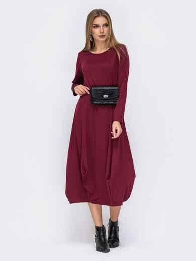 Платье-миди бордового цвета с юбкой-бочкой 42350, фото 1