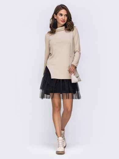 Платье-мини с фатиновой юбкой и воротником-хомут бежевое 42344, фото 1