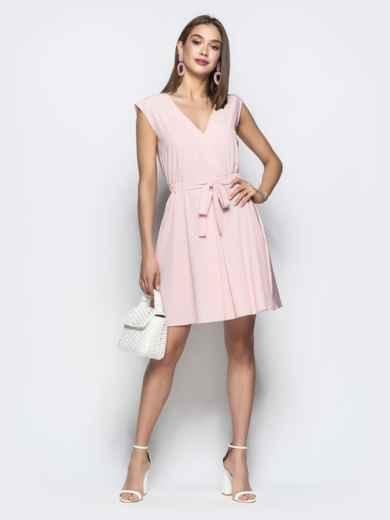 Пудровое платье с юбкой-солнце и кулиской по талии 21728, фото 2