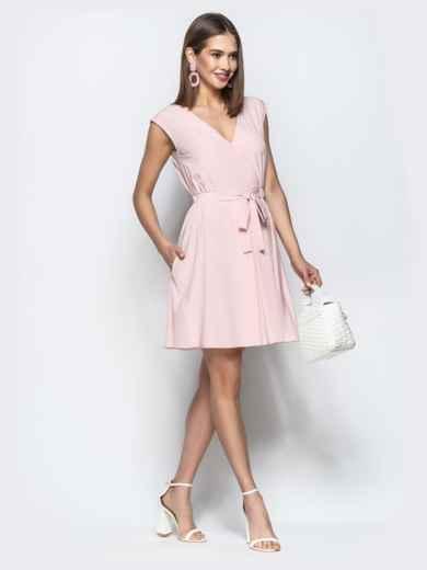 Пудровое платье с юбкой-солнце и кулиской по талии 21728, фото 3
