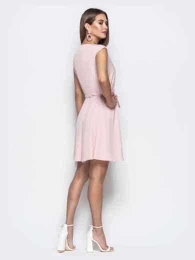 Пудровое платье с юбкой-солнце и кулиской по талии 21728, фото 4
