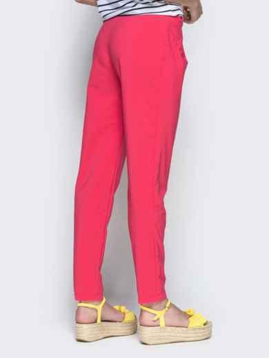Розовые брюки из бенгалина с эластичной деталью в поясе 32885, фото 3
