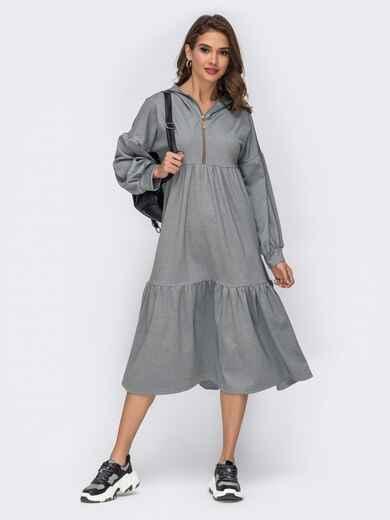 Серое платье со пущенной линией плеч и капюшоном 42348, фото 1