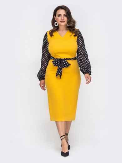 Желтое платье батал с рукавами из шифона в горох 49870, фото 2