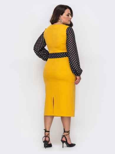 Желтое платье батал с рукавами из шифона в горох 49870, фото 3