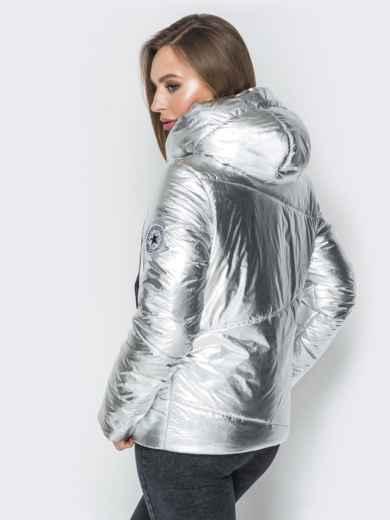 Серебристая куртка со вшитым капюшоном и карманами 20223, фото 3