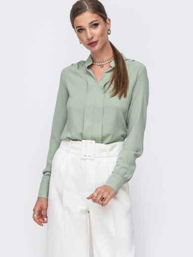 Зеленая блузка прямого кроя с воротником-стойкой 49640, фото 2
