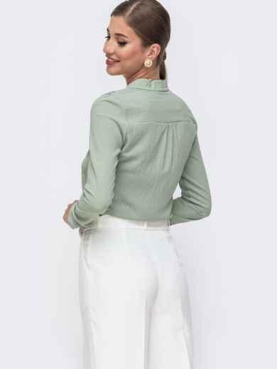 Зеленая блузка прямого кроя с воротником-стойкой 49640, фото 3