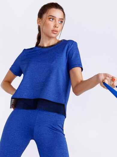 Синяя футболка из спортивного трикотажа 44453, фото 1