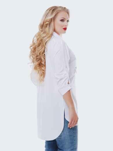 Удлиненная рубашка из софта со шлейфом белая 37042, фото 2