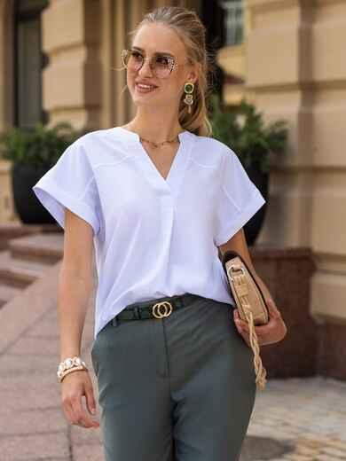 Белая блузка с цельнокроеным рукавом и V-образным вырезом 49855, фото 1