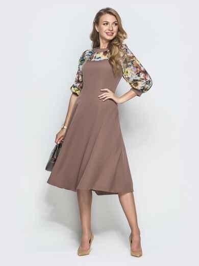 Бежевое платье с принтованной кокеткой из шифона 40015, фото 1