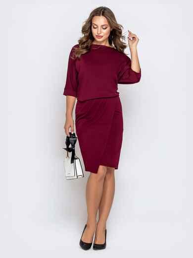 Бордовое платье с напуском по талии и юбкой-тюльпан 40790, фото 1