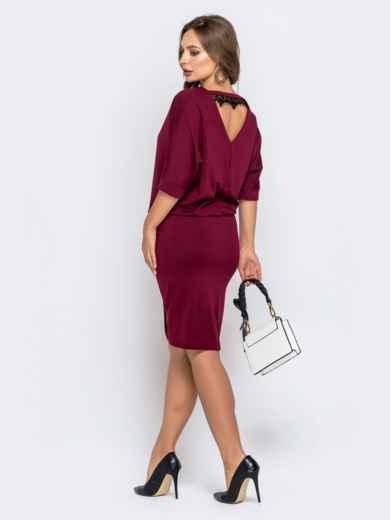 Бордовое платье с напуском по талии и юбкой-тюльпан 40790, фото 2