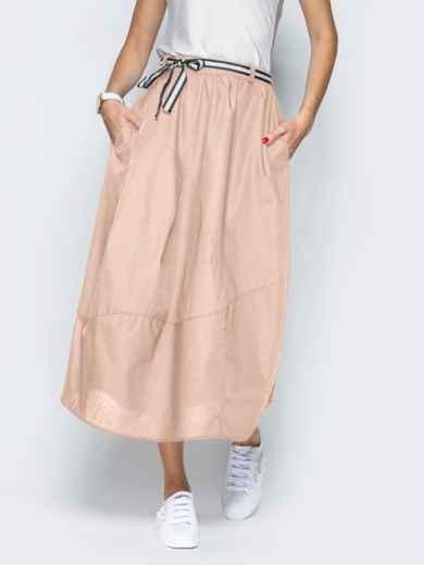 Льняная юбка бежевого цвета с карманами 39381, фото 2