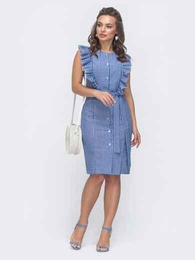 Льняное платье в полоску с рюшами по бокам голубое 47451, фото 1