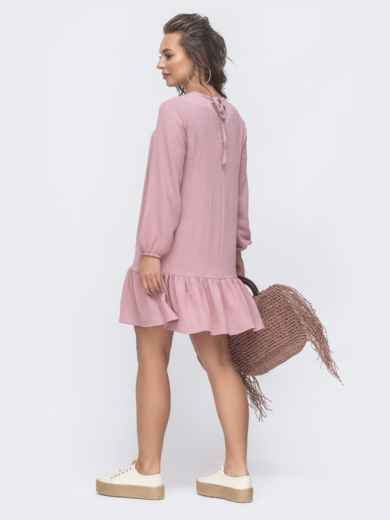 Платье свободного кроя с воланом по низу розовое 47463, фото 2