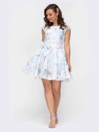 Расклешенное платье с принтом и двуслойной юбкой голубое 47457, фото 2
