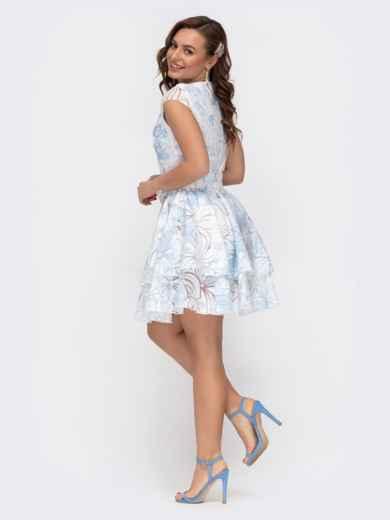 Расклешенное платье с принтом и двуслойной юбкой голубое 47457, фото 3