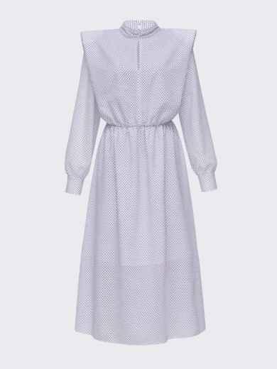 Расклешенное платье в мелкий горох с подплечниками белое 51343, фото 4