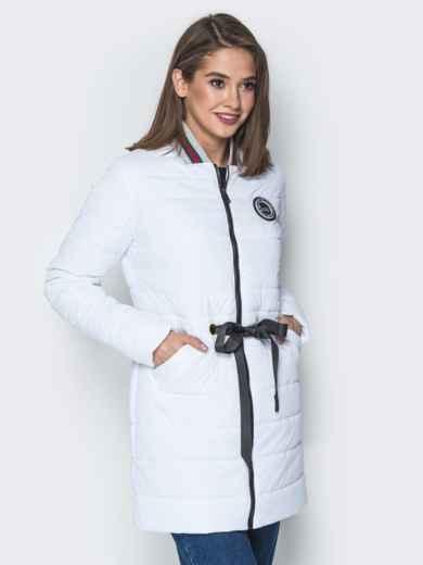 Удлиненная куртка-бомбер с кулиской на талии белая 20247, фото 2