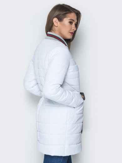 Удлиненная куртка-бомбер с кулиской на талии белая 20247, фото 3