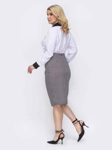 Белый комплект большого размера из блузки и юбки с принтом 50008, фото 2