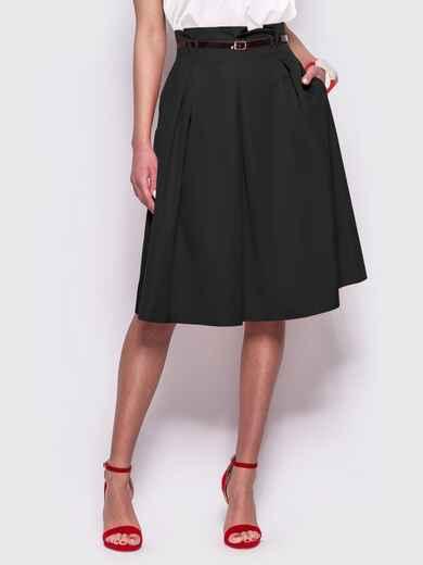 Чёрная расклешенная юбка с карманами по бокам 44954, фото 1