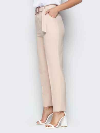 Прямые брюки с завышеной талией и карманами бежевые 20585, фото 2