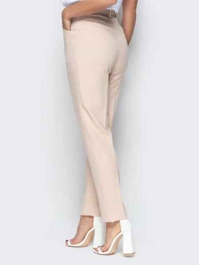 Прямые брюки с завышеной талией и карманами бежевые 20585, фото 3