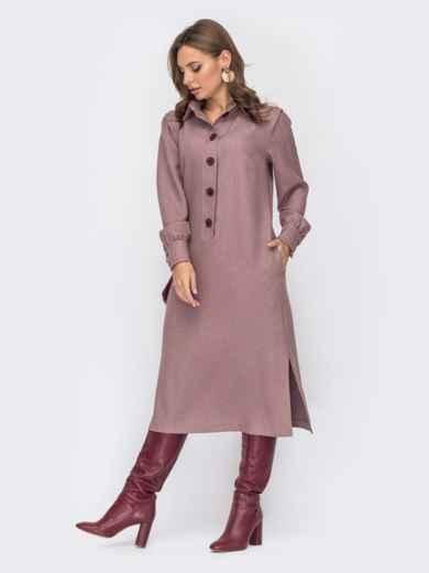 Пудровое платье-рубашка с разрезами по бокам 51795, фото 2