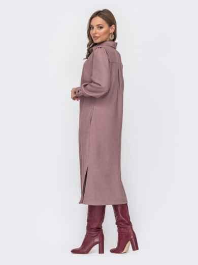 Пудровое платье-рубашка с разрезами по бокам 51795, фото 3