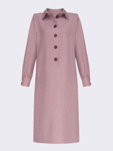 Пудровое платье-рубашка с разрезами по бокам 51795, фото 4