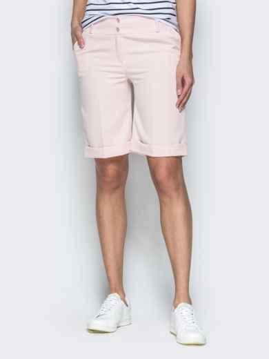 Пудровые шорты из костюмной ткани в стиле casual 38143, фото 1