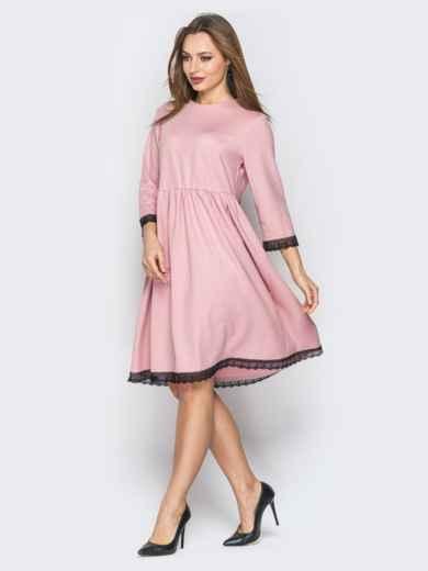 Розовое платье с кружевом и пуговицами по спинке 19370, фото 2