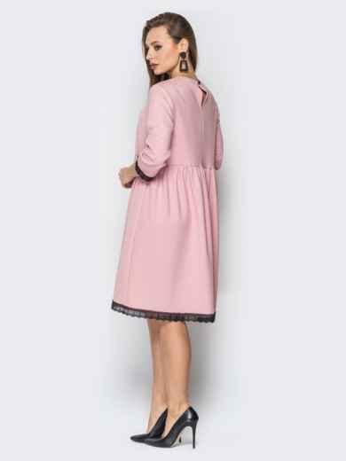 Розовое платье с кружевом и пуговицами по спинке 19370, фото 3