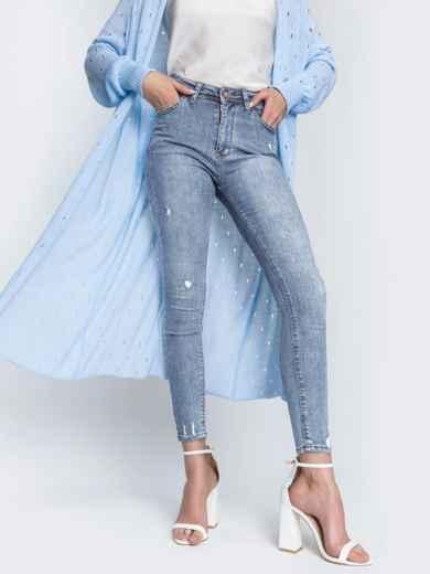 Голубые джинсы-скинни с потертостями 48815, фото 1