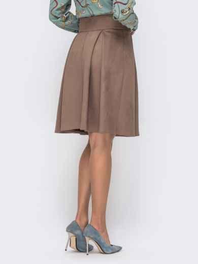 Расклешенная юбка из искусственной замши на пуговицах бежевая 41499, фото 2