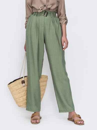 Широкие брюки цвета хаки с высокой посадкой 49345, фото 1