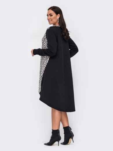 Черное платье батал с принтом и удлиненной спинкой 51601, фото 2