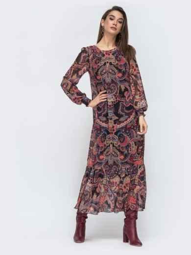 Длинное платье из шифона с принтом бордовое 45076, фото 2