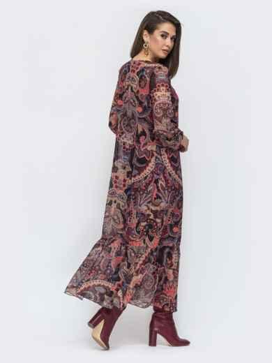 Длинное платье из шифона с принтом бордовое 45076, фото 3