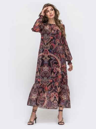 Длинное платье из шифона с принтом бордовое 45076, фото 4